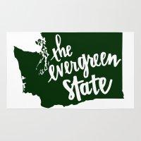 washington Area & Throw Rugs featuring Washington State by Caleb Swenson