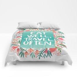 Eat Well, Travel Often Bouquet Comforters