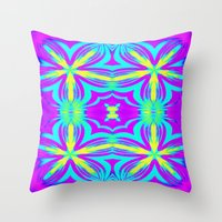 psychedelic art Throw Pillows featuring psychedelic Floral Fuchsia Aqua by 2sweet4words Designs