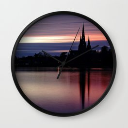 Pink Sky Over The Lichfield Cathedral Wall Clock