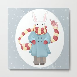 Bunny Brother Out On A Winter Day Metal Print