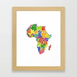 African Continent Cloud Map Framed Art Print