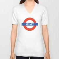 velvet underground V-neck T-shirts featuring Velvet Underground by WALRUS