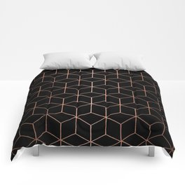 Rose Gold/Copper and Black Geometric Comforters