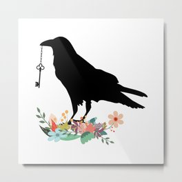 Raven with Vintage Key and Flowers Metal Print