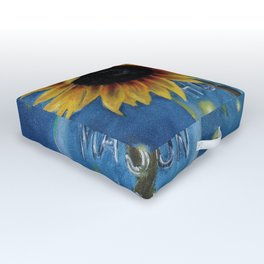 Lightning Bugs and Sunflowers Outdoor Floor Cushion