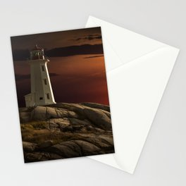 Lighthouse at Sunset in the Peggy's Cove Stationery Cards