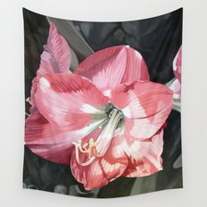 Pink Amaryllis Garden Flower Watercolor Painting Wall Tapestry