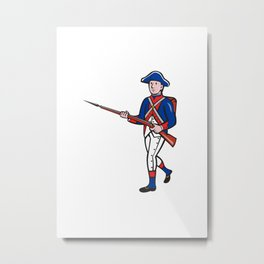 American Soldier Marching Rifle Cartoon Metal Print