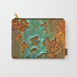 Rust and Deep Aqua Blue Abstract Carry-All Pouch