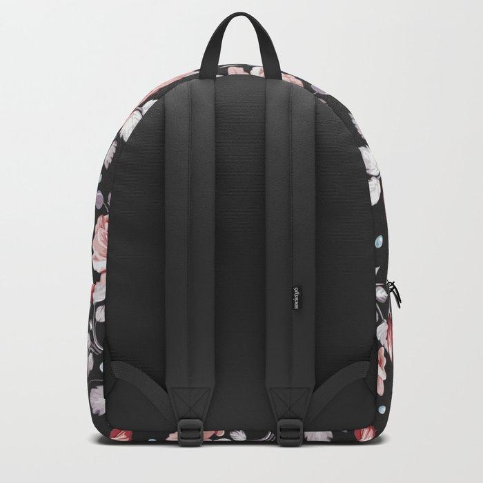 Vintage Pink Rose Flowers Backpack