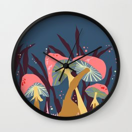 Mushroom Mania Nature Landscape Blue & Coral Wall Clock