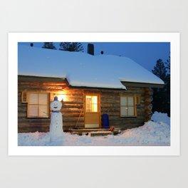 Lapland - Log Cabin Art Print