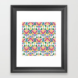 Colorful oriental watercolor floral pattern. Framed Art Print