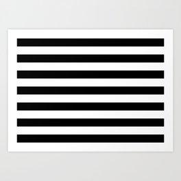 Black and White Medium Stripes Pattern Art Print