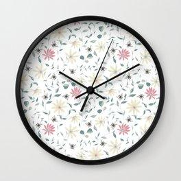 Floral Bee Print Wall Clock