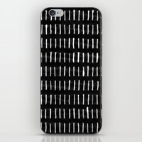 woodstock iPhone & iPod Skins featuring White on Black Woodstock Pattern by LacyDermy