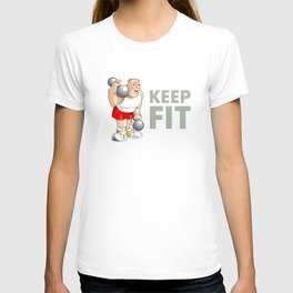 "Funny Bodybuilder said: ""Keep Fit!"". Vector Illustration T-shirt"