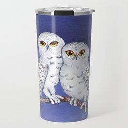 Two lovely snowy owls Travel Mug