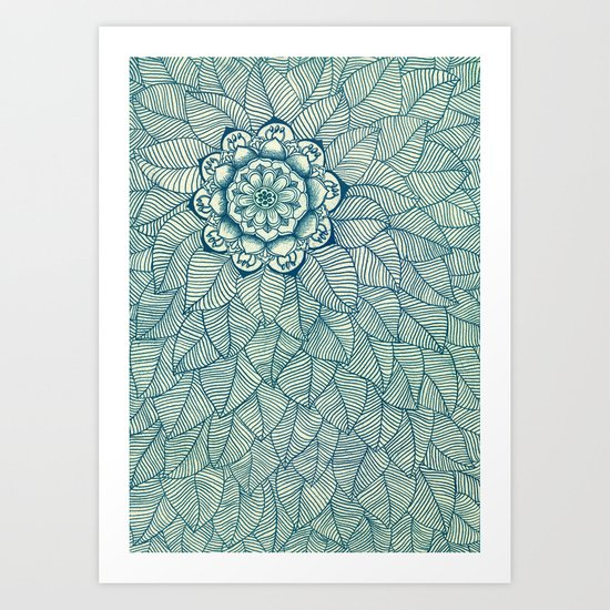 Emerald Green, Navy & Cream Floral & Leaf doodle Art Print