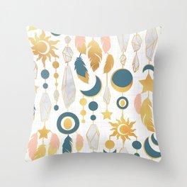 Bohemian spirit IV // white background salmon pink & gold feathers Throw Pillow