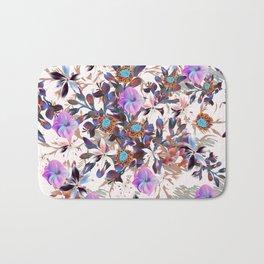 Beautiful watercolor flowers. Blue morning filed Bath Mat