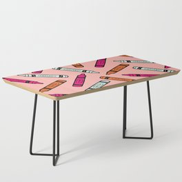 Crayons on Pink Pattern Coffee Table