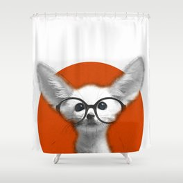 Fennec Fox wearing glasses Shower Curtain