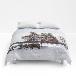 Weeping Willow on the Frozen Lake Comforters