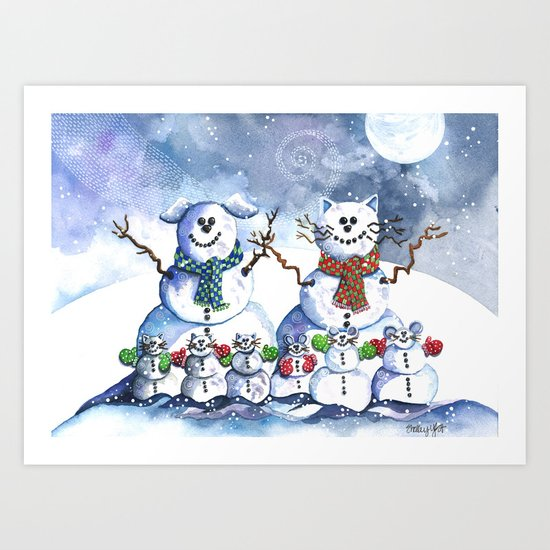 It's Snowing Cats and Dogs (and Mice too) Art Print