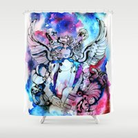 marc Shower Curtains featuring Marc Bolan - Cosmic Dancer by FlowerMoon Studio