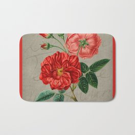 Vintage Orange Roses Bath Mat