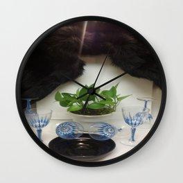 Mink 'n Classy Blue Wine Glasses Wall Clock