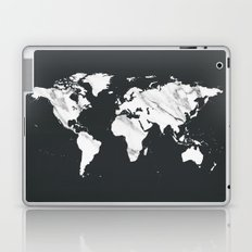 Marble World Map in Black and White Laptop & iPad Skin