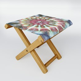 Kaleidoscope Burst Blue & Green Folding Stool