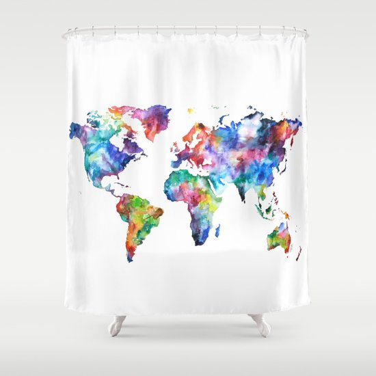 Nice World Map Watercolor Painting Shower Curtain By Audreydeford | Society6