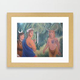 Man is in the Forest Framed Art Print