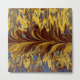 Electric-Blue, Brown, and Gold Abstract Metal Print