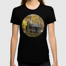 Smoky Mountain Rural Rustic Cabin Autumn View T-shirt