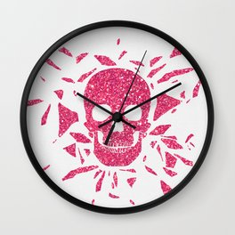Girly Pink Glitter Abstract Skull Cool Photo Print Wall Clock