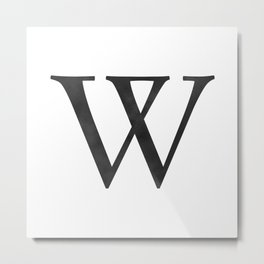 Letter W Initial Monogram Black and White Metal Print