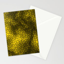 Stained glass texture of snake gold leather with bright heat spots. Stationery Cards