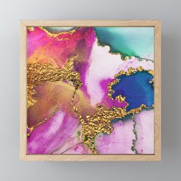 Yummy Glitter Gold and Pink Abstract Paint Textures Framed Mini Art Print
