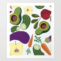 vegetables Art Prints featuring vegetables by Aina Bestard