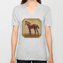 Bay Quarter Horse Foal Unisex V-Neck