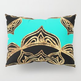 Gold Lace on Turquoise Pillow Sham