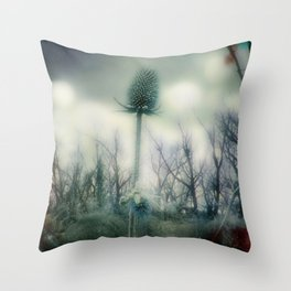 Ice Blue Meadow Throw Pillow
