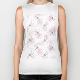 Floral pattern with dragonflies on a white background. Biker Tank