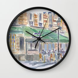Paris Street Scene Romantic Cafe Afternoon Wall Clock