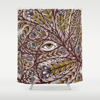 eugenia loli Shower Curtains featuring Golden Eye by TotalBabyCakes